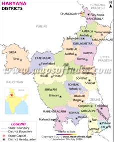 Haryana District Map