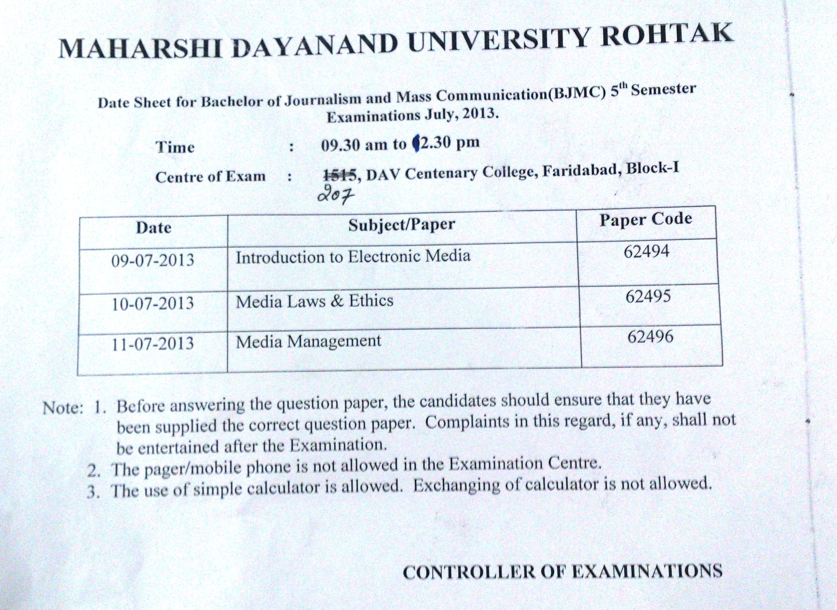 Exam+Dates Date: 14th June 2013 :- Date-Sheet for Certificate Course