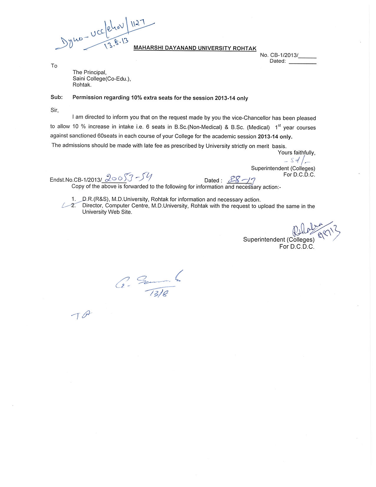 Permission regarding 10% extra seats for the session 2013-14 only